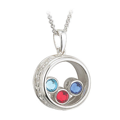 "Irish Necklace - Sterling Silver ""Mother's Love"" Aura Pendant with Chain"