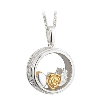 """Irish Necklace - Sterling Silver """"Remember Me"""" Aura Pendant with Chain"""