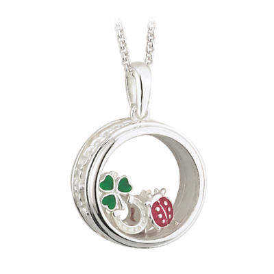 "Irish Necklace - Sterling Silver ""A Bit of Irish Luck"" Aura Pendant with Chain"