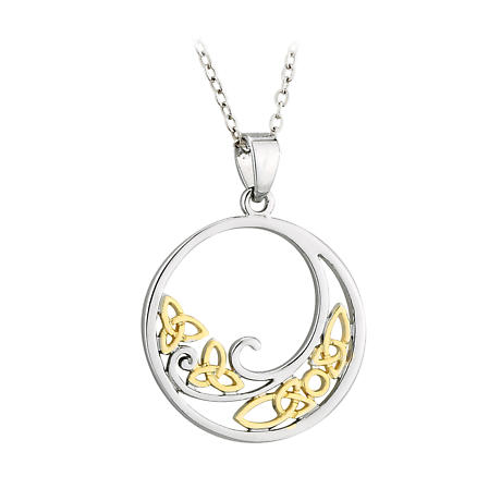 Celtic Necklace - Two Tone Plated Celtic Knot Pendant