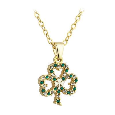 St. Patricks Day - Irish Jewelry Gold Plated Shamrock Pendant