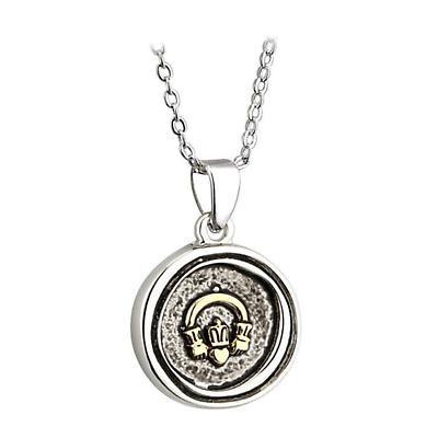 Claddagh Pendant - Pewter Wax Seal Style Irish Necklace