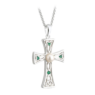 Celtic Pendant - Sterling Silver Freshwater Pearl and Emerald Celtic Cross Pendant with Chain