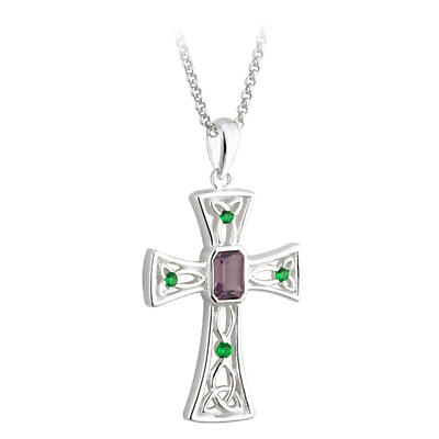 Celtic Pendant - Celtic Cross Pendant - Sterling Silver Trinity Knot Cross Pendant with Chain