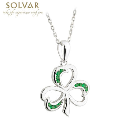 Irish Necklace - Sterling Silver Shamrock with Green Crystals Pendant with Chain