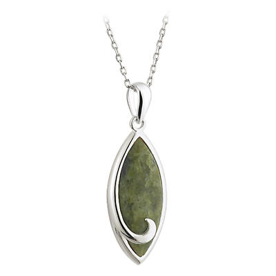 Irish Necklace - Sterling Silver Connemara Marble Twist Pendant with Chain