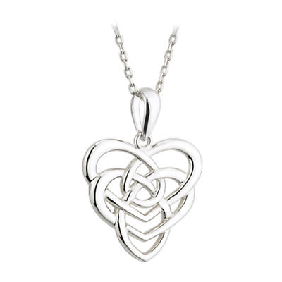 Celtic Pendant - Sterling Silver Celtic Knot Heart Pendant with Chain