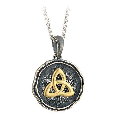 Irish Necklace - Trinity Knot Pendant - Sterling Silver and Gold Plated Antiqued Trinity Knot Pendant with Chain