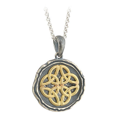 Irish Necklace - Trinity Knot Pendant - Sterling Silver and Gold Plated Antiqued Celtic Trinity Knot Pendant with Chain