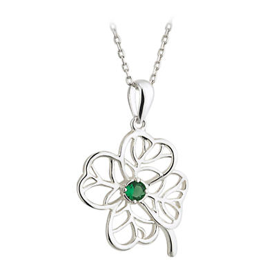 Irish Necklace - Sterling Silver Filigree Shamrock with Crystals Pendant with Chain