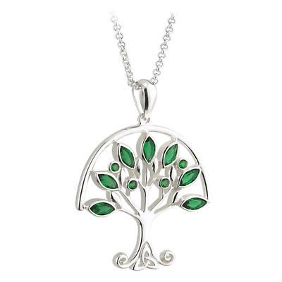 Celtic Pendant - Sterling Silver Tree of Life with Green Crystals Pendant with Chain