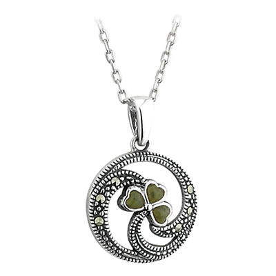 Shamrock Pendant - Sterling Silver Connemara Marble and Marcasite Shamrock Pendant with Chain