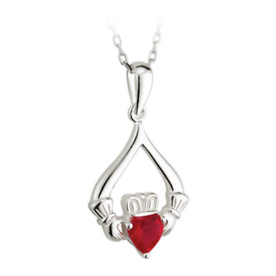 Irish Necklace - Sterling Silver Red Crystal Heart Claddagh Pendant with Chain