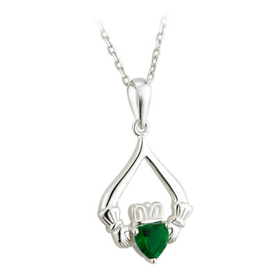 Irish Necklace - Sterling Silver Green Crystal Heart Claddagh Pendant with Chain
