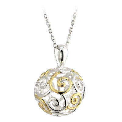 Celtic Pendant - Celtic Pendant - Sterling Silver and Gold Plated Celtic Spirals Sphere Pendant with Chain