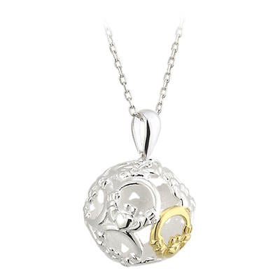 Celtic Pendant - Sterling Silver and Gold Plated Claddagh Sphere Pendant with Chain
