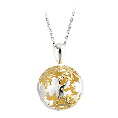 Celtic Pendant - Shamrock Pendant - Sterling Silver and Gold Plated Irish Shamrock Sphere Pendant with Chain