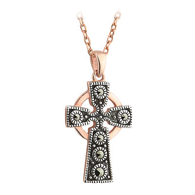 Celtic Pendant - 18k Rose Gold on Silver Marcasite Celtic Cross Pendant with Chain