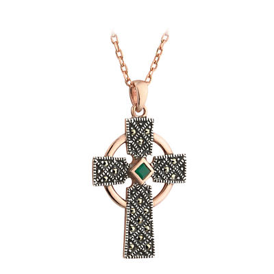 Celtic Pendant - 18k Rose Gold on Silver Marcasite Celtic Cross with Agate Pendant with Chain