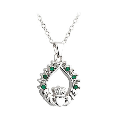 Irish Necklace - Green and White Crystal Rhodium Plated Claddagh Pendant