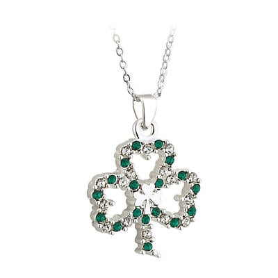 St. Patricks Day - Irish Jewelry Silver Plated Shamrock Pendant with Sparkling Crystal