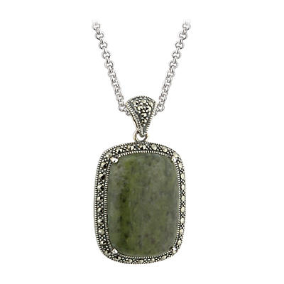Irish Pendant - Sterling Silver Connemara Marble and Marcasite Square Pendant with Chain