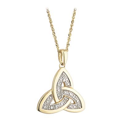 Trinity Knot Pendant - 14k Gold and Diamonds Trinity Knot Pendant with Chain