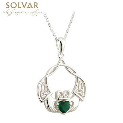 Claddagh Necklace - Sterling Silver Crystal Claddagh & Trinity Knot Irish Pendant
