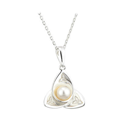 Irish Pendant - Sterling Silver Pearl Flower Trinity Knot Necklace