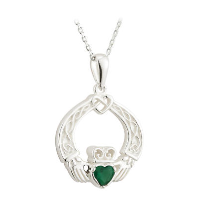 Irish Necklace - Sterling Silver and Crystal Celtic Weave Claddagh Pendant