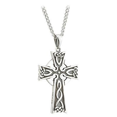 Celtic Pendant - Sterling Silver Oxidized Large Celtic Cross Pendant