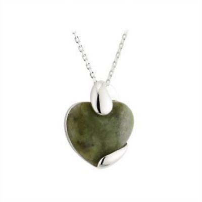 Irish Valentines Day Jewelry -  Connemara Marble Heart Sterling Silver Irish Necklace
