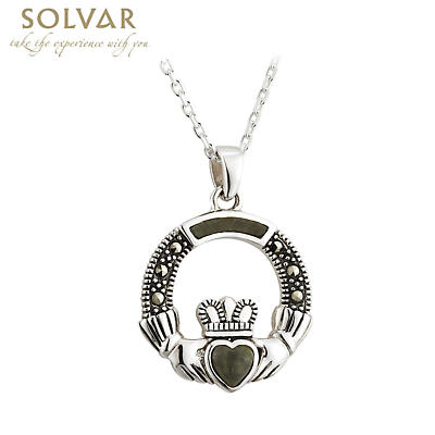 Irish Necklace - Sterling Silver Connemara Marble Marcasite Claddagh Pendant