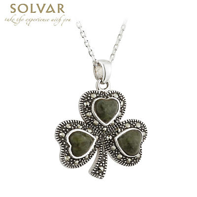 Irish Necklace - Sterling Silver Connemara Marble Marcasite Shamrock Pendant