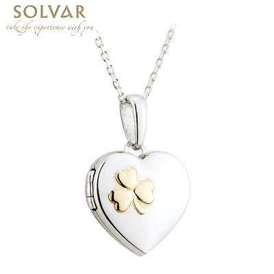Irish Valentines Day Jewelry - Sterling Silver and 18k Gold Plate Shamrock Heart Locket