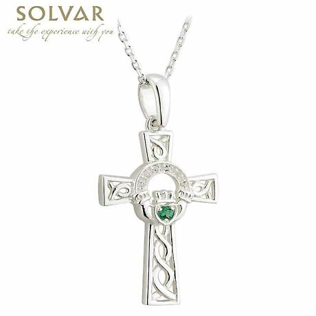 Celtic Pendant - Sterling Silver and Crystal Claddagh Celtic Cross Necklace