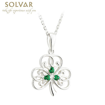 Irish Necklace - Sterling Silver Crystal Shamrock Pendant