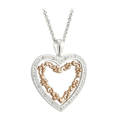 Irish Valentines Day Jewelry - Sterling Silver and 18k Rose Gold Plate Heart Pendant with Crystals