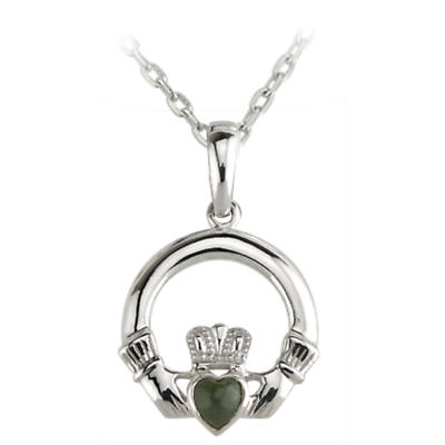 Irish Necklace - Sterling Silver Claddagh with Connemara Marble Heart Pendant with Chain