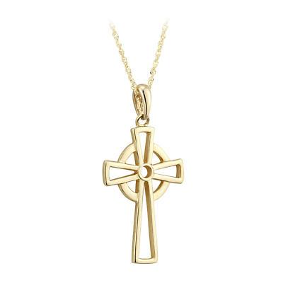 Celtic Pendant - 14k Yellow Gold Open Celtic Cross Necklace