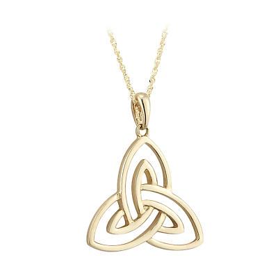 Irish Necklace - 10k Yellow Gold Open Trinity Knot Pendant - Large