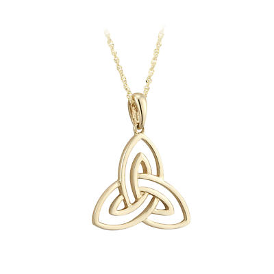 Irish Necklace - 10k Yellow Gold Open Trinity Knot Pendant - Small