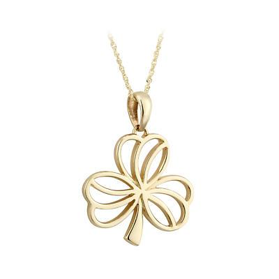 Irish Necklace - 10k Yellow Gold Open Shamrock Pendant - Large