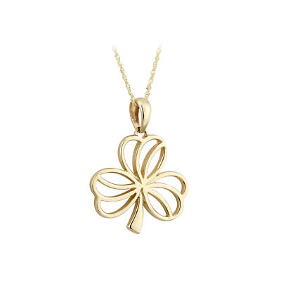 Irish Necklace - 10k Yellow Gold Open Shamrock Pendant - Small