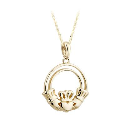 Irish Necklace - 9k Yellow Gold Open Claddagh Irish Pendant