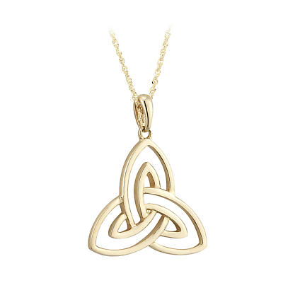Irish Necklace - 9k Yellow Gold Open Trinity Knot Pendant - Large