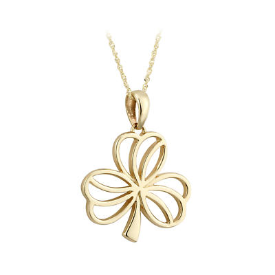 Irish Necklace - 9k Yellow Gold Open Shamrock Pendant - Large