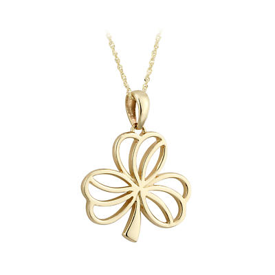 Irish Necklace - 9k Yellow Gold Open Shamrock Pendant - Medium