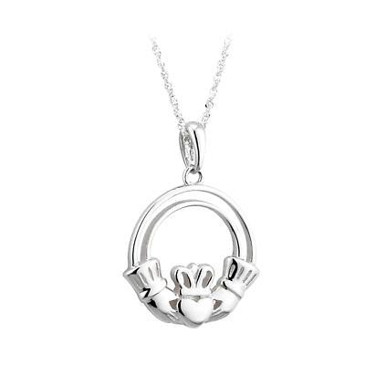 Irish Necklace - 14k White Gold Open Claddagh Irish Pendant