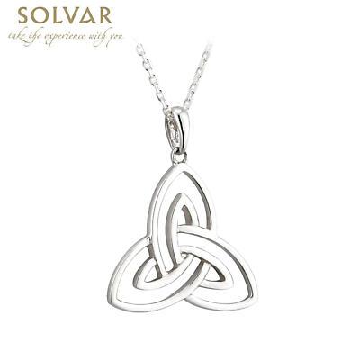 Irish Necklace - 14k White Gold Open Trinity Knot Pendant - Large